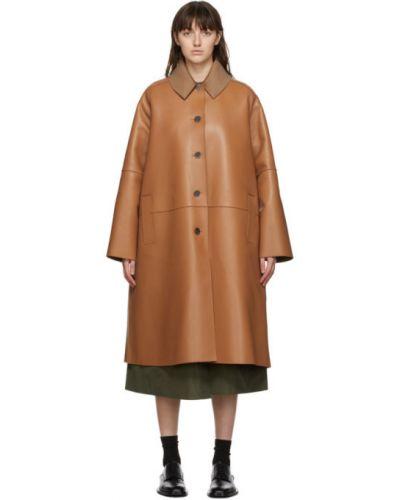 Стеганое шерстяное длинное пальто с воротником Loewe