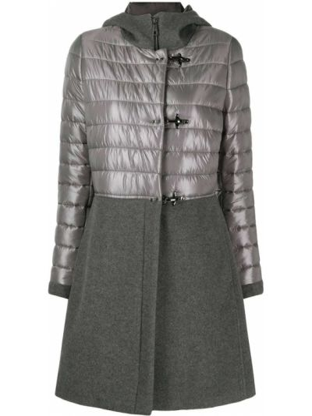 Классическое прямое серое пальто с капюшоном со вставками Fay