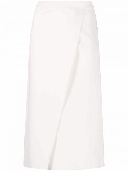 Biała spódnica kopertowa z wiskozy Mrz