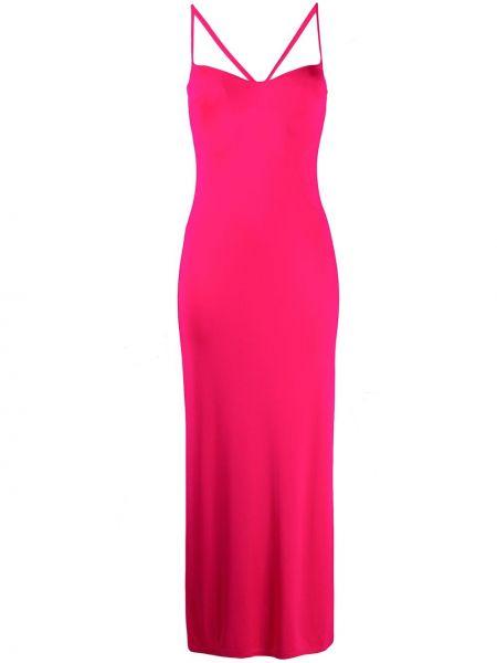 Różowa sukienka długa z wiskozy Galvan