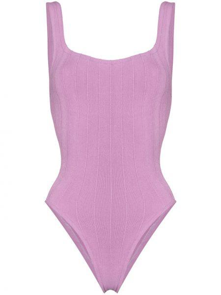 Фиолетовый пляжный купальник с шортами в рубчик Hunza G