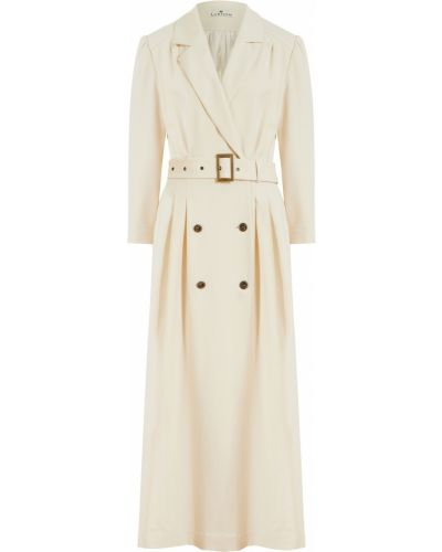 Белое платье из вискозы двубортное Laroom