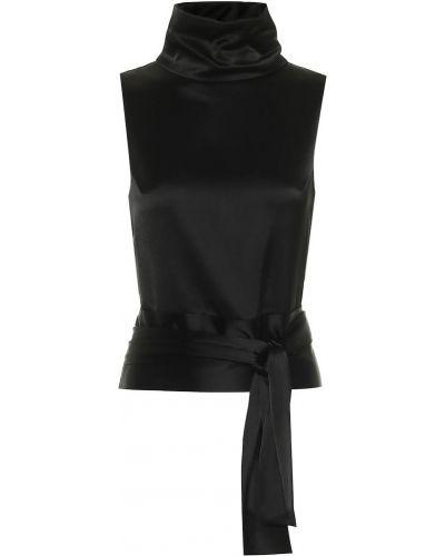 Сатиновая черная вечерняя блузка Galvan