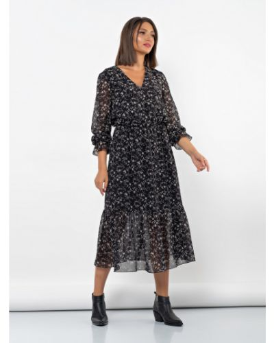 Шифоновое нарядное платье миди с длинными рукавами Jetty