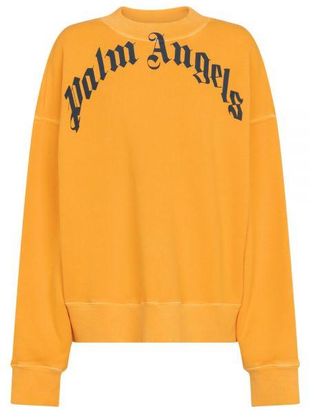 Желтый ватный хлопковый свитшот Palm Angels