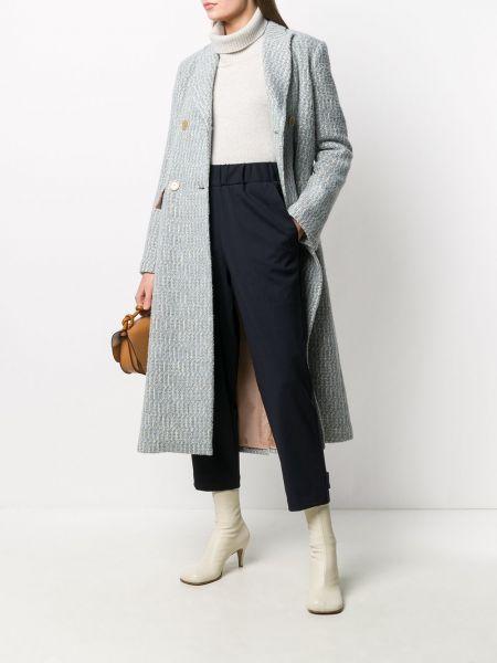 Синее шерстяное длинное пальто двубортное Semicouture