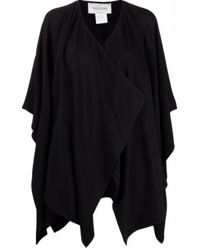 Światło z rękawami czarny peleryna z wiskozy Valentino
