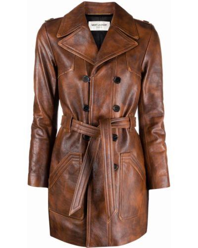 Коричневое пальто на пуговицах Saint Laurent