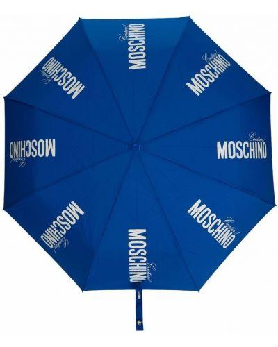 Złoty niebieski parasol z printem Moschino