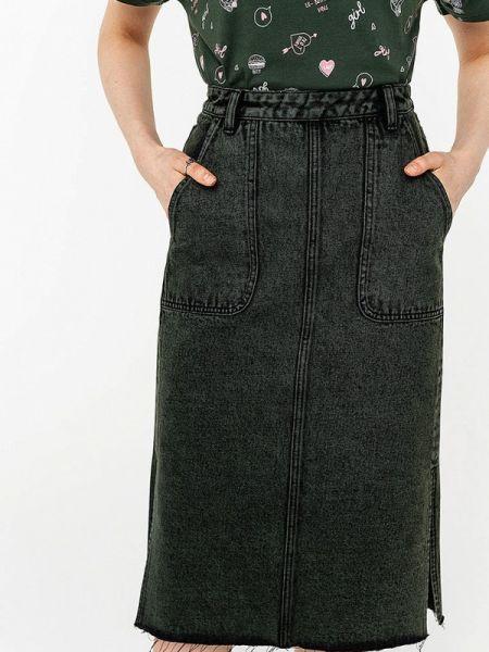 Джинсовая юбка свободного кроя зеленый Befree