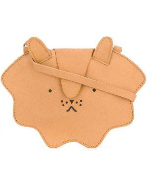 Brązowa torebka skórzana z haftem Donsje