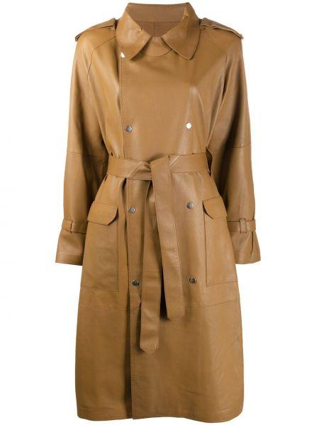 Коричневое пальто классическое с поясом с воротником двубортное S.w.o.r.d 6.6.44