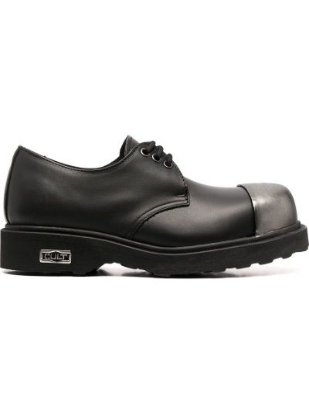 Ажурные кожаные черные пинетки на шнурках Cult