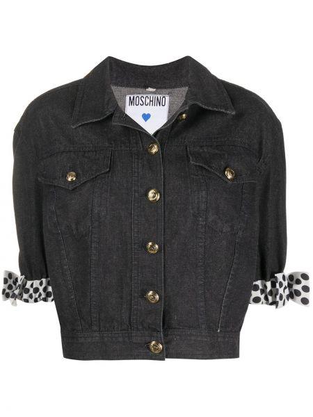 Ватная черная джинсовая куртка с воротником Moschino Pre-owned
