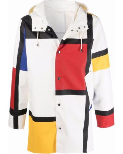 Biały płaszcz przeciwdeszczowy z kapturem z długimi rękawami Stutterheim