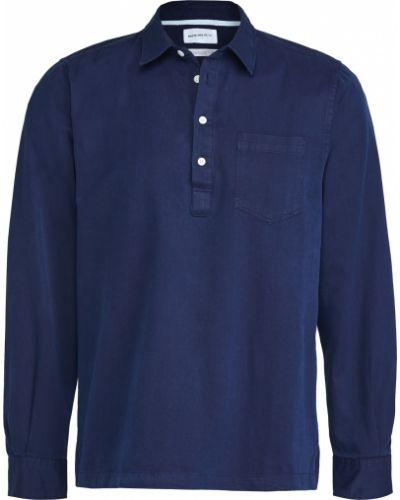 Niebieska koszula bawełniana z długimi rękawami Norse Projects