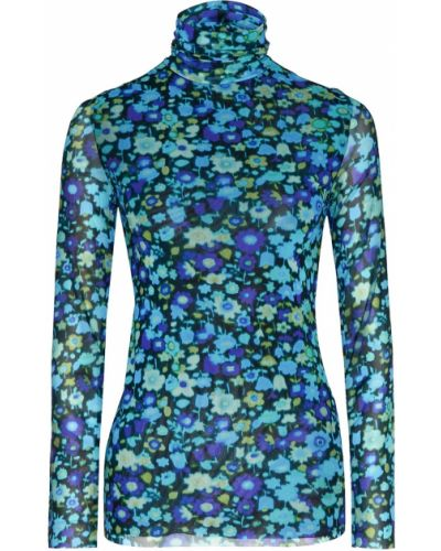 Блузка с длинным рукавом с цветочным принтом синяя Ganni
