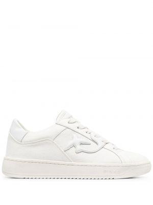 Białe sneakersy skorzane sznurowane Pinko