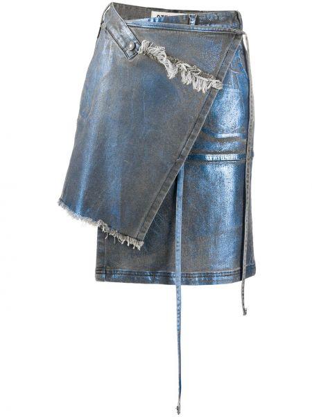 Джинсовая юбка с запахом асимметричная Ottolinger