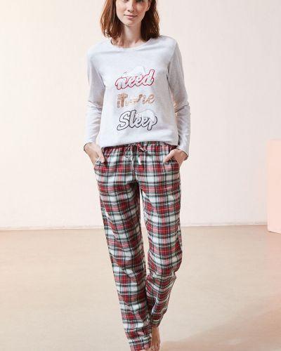 Czerwona spodni piżama bawełniana z długimi rękawami Etam