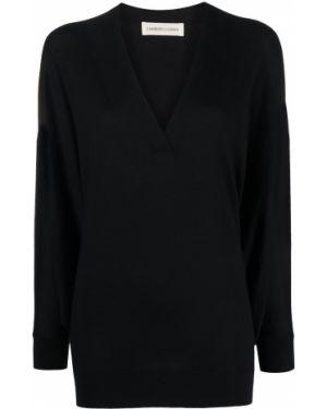 С рукавами кашемировый черный свитер оверсайз с V-образным вырезом Lamberto Losani