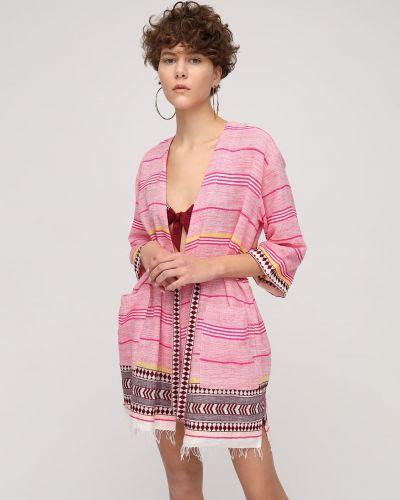 Różowy krótkie szorty bawełniany w paski Lemlem