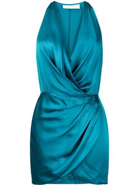 Шелковое платье мини - синее Michelle Mason