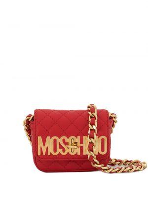Золотистая красная стеганая сумка через плечо с перьями Moschino Pre-owned