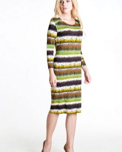 Платье миди в полоску со складками космея