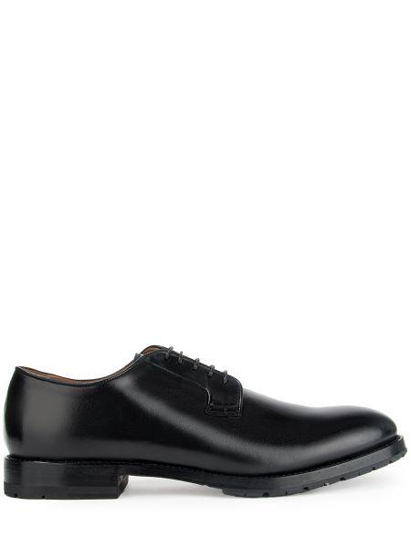 Кожаные черные кожаные туфли с декоративной отделкой на шнуровке Franceschetti