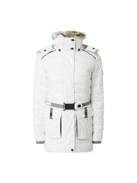 Biały kurtka z kapturem z futrem z kieszeniami z zamkiem błyskawicznym Wellensteyn