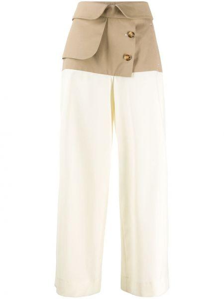 Beżowe spodnie bawełniane z paskiem Each X Other