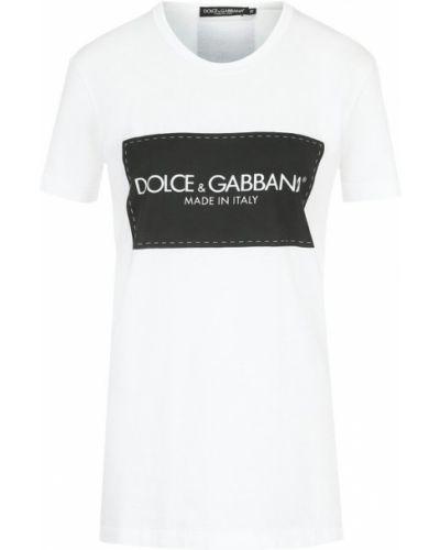 Хлопковая футболка прямого кроя с логотипом бренда Dolce & Gabbana