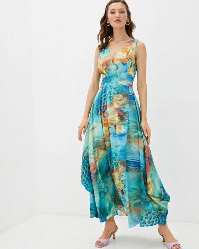 Бирюзовое прямое платье Арт-Деко