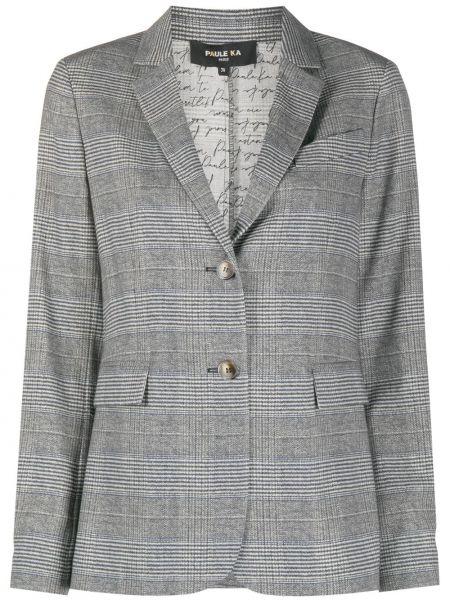 Шерстяной черный пиджак с карманами с лацканами Paule Ka