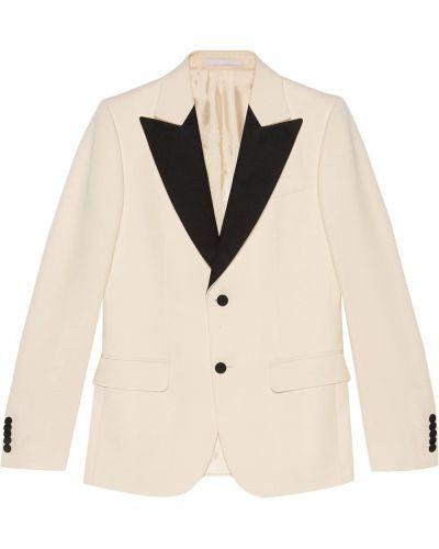 Czarna długa kurtka wełniana z długimi rękawami Gucci