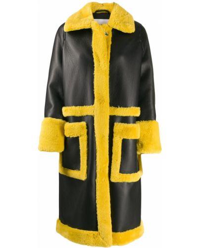Черное пальто с воротником с накладными карманами Stand