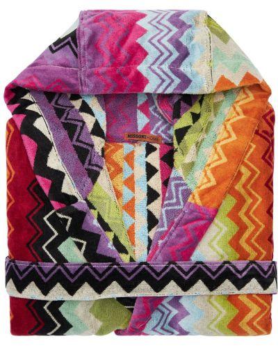 Bawełna bawełna szlafrok z paskiem z łatami Missoni