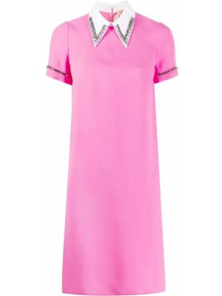 Różowa sukienka mini na co dzień krótki rękaw N°21