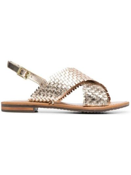 Złote sandały płaska podeszwa peep toe Geox