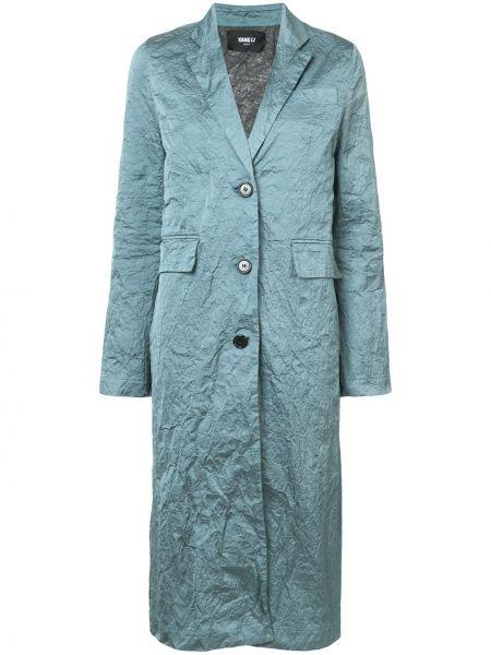 Зеленое однобортное пальто металлическое Yang Li
