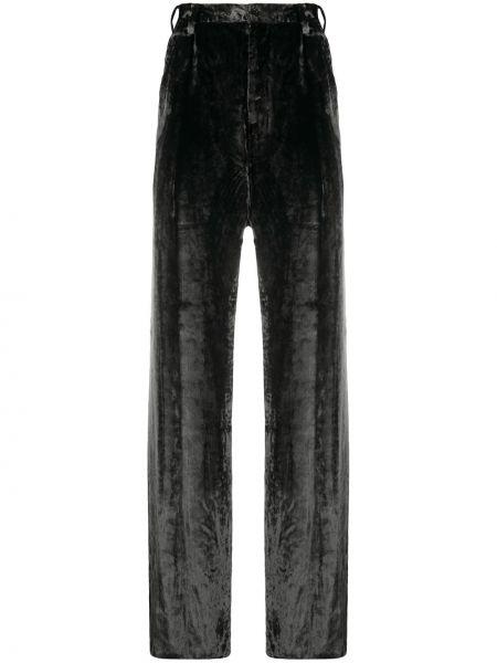 Spodnie z wysokim stanem z paskiem z aksamitu Sulvam