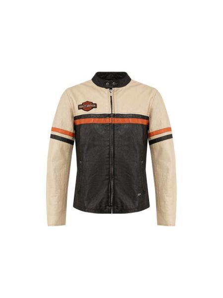 Кожаная черная кожаная куртка на кнопках с аппликациями Harley Davidson