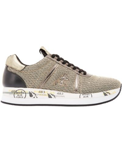 Кожаные кроссовки черные серебряный Premiata