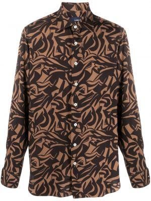 Brązowa koszula z długimi rękawami z wiskozy Lardini