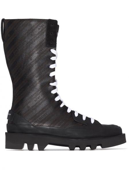 Skórzany czarny buty Givenchy