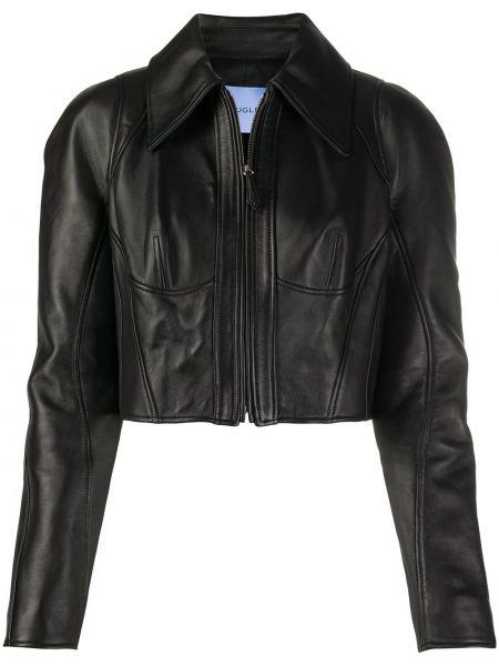 Классическая черная куртка на молнии с воротником Mugler