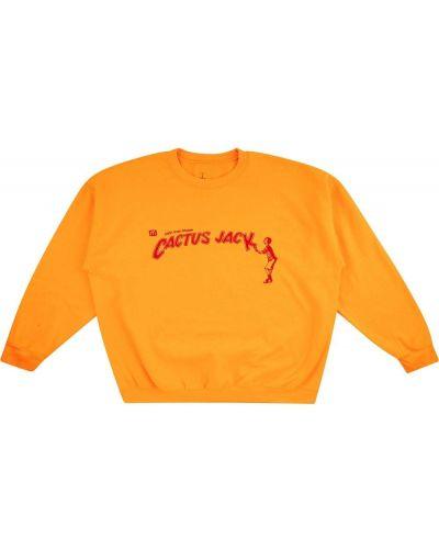 Żółta bluza z haftem z długimi rękawami Travis Scott Astroworld