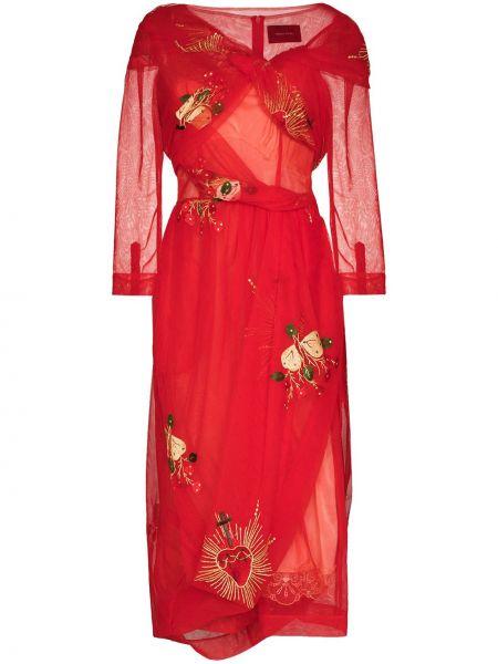 Красное платье из фатина с запахом на молнии Simone Rocha