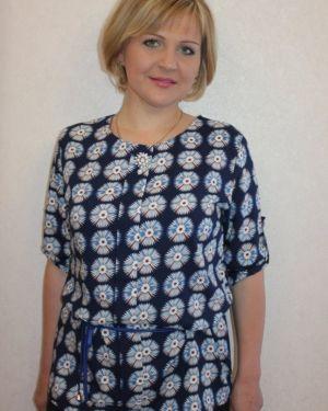 Блузка из штапеля синяя инсантрик